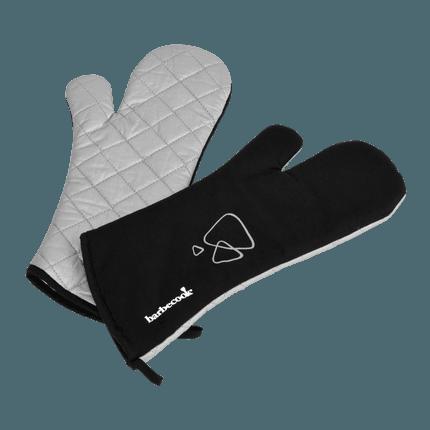 Paar schwarze lange Grill Handschuhe