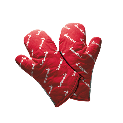Paar korte handschoenen uit katoen rood