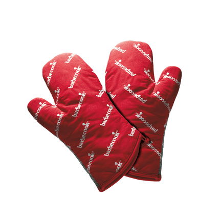 Pair of short cotton gloves red