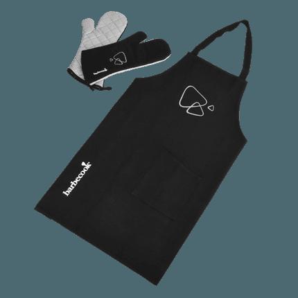 Set van schort en lange handschoenen zwart