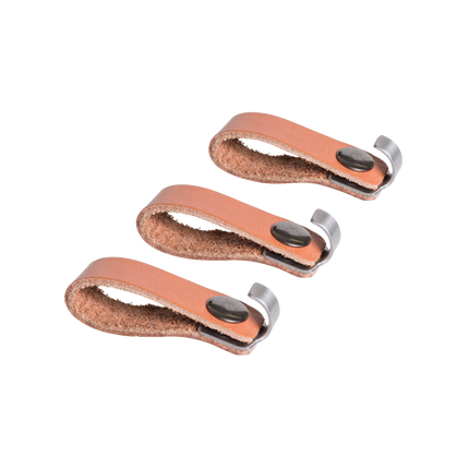 Set van 3 accessoirehaken uit leder en rvs