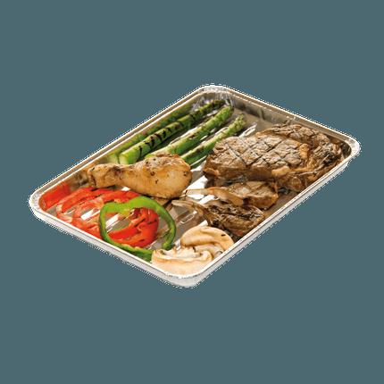Set de 5 plats rectangulaires pour barbecue en aluminium