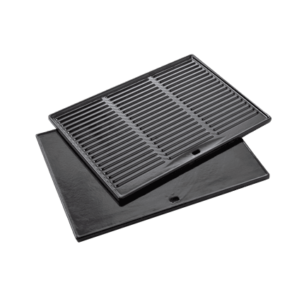 Universal cooking griddle of enamelled cast iron