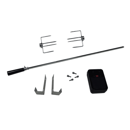 Set for gas barbecue with 2 spit forks and attachment hooks