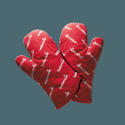 Paar rote kurze Grill Handschuhe