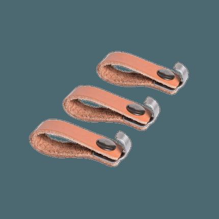 3 Zubehörhaken aus Leder und Edelstahl