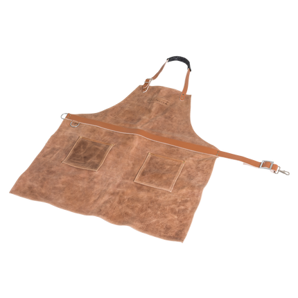 Tablier en cuir de vache brun